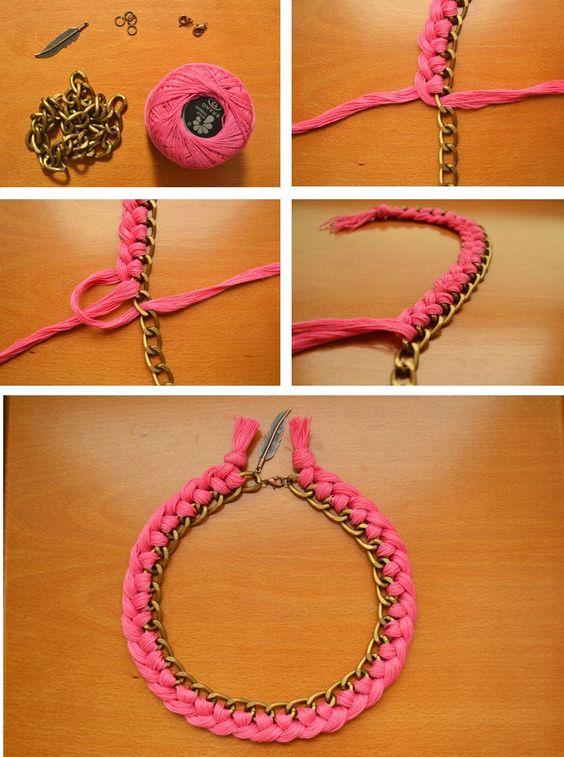 Collar de hilo trenzado y cadena de eslabones