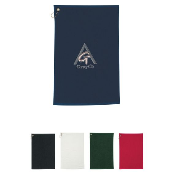 100% cotton unfolded golf towel with metal grommet and a hook.