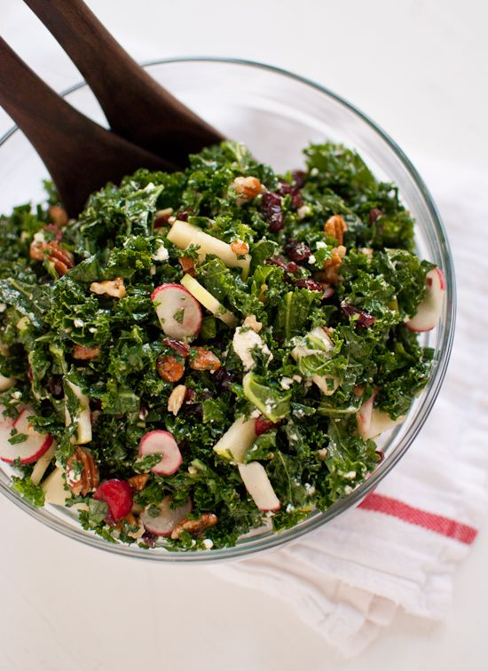 Kale Salad with Apple, Cranberries and Pecans | Recipe | Kale Salads ...
