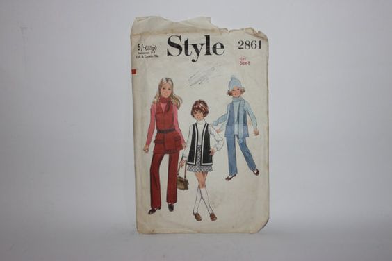 Style paper pattern girl size 8 1969 1970 by redrococogarden