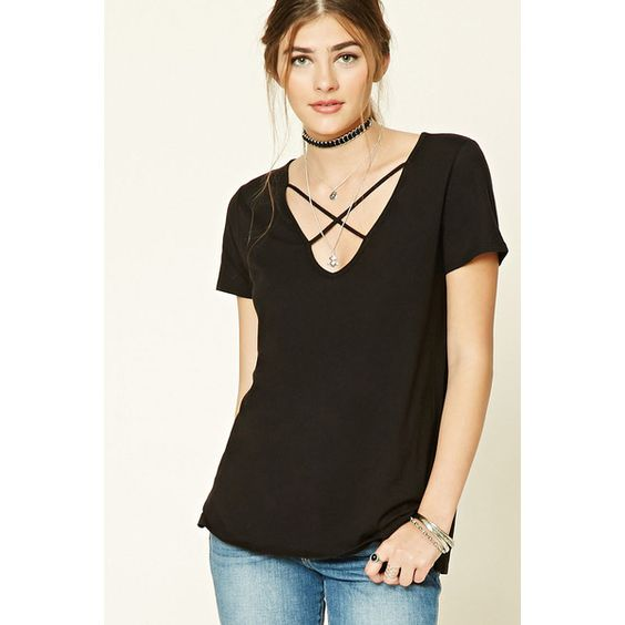 Forever21 Crisscross-Front Tee ($9.90) ❤ liked on Polyvore featuring tops, t-shirts, black, boxy tee, side slit tee, boxy t shirt, short sleeve tee and forever 21