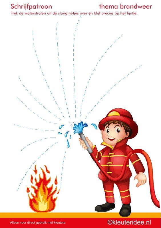 Schrijfpatroon 1, thema brandweer, juf Petra van kleuteridee.