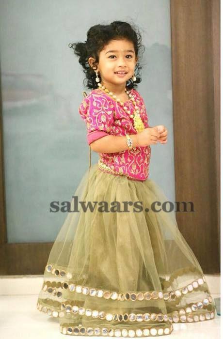 baby in mirror work lehenga indian dresses indian kids