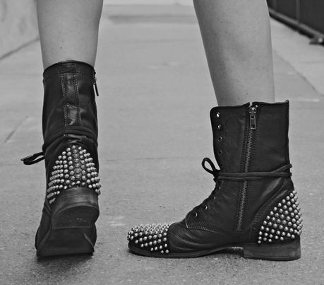 Studded military boots