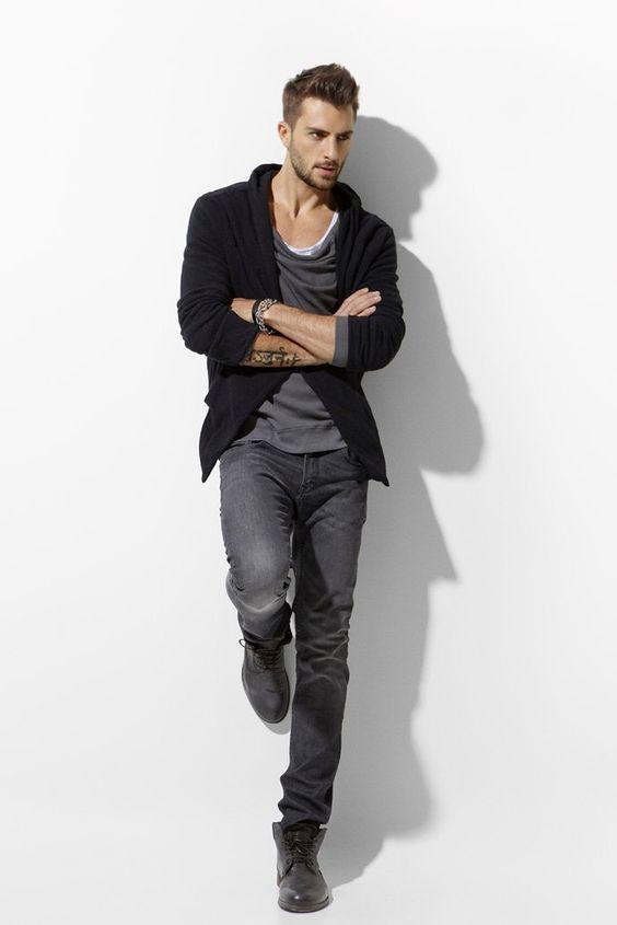 Jeans shirt boots. #mens #fashion | style | Pinterest | Grey, Zara ...
