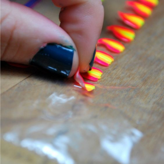 ever wanted to paint pretty designs on your nails and then realized that it was impossible to do yourself because you have a dominant hand? well here is a solution!! paint the designs onto a ziploc bag and then peel them off and place them on your nail!! finish with top coat :)  (This works if you are VERY careful)
