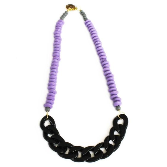 Dusk necklace - handmade pastel lilac wooden beads and chain necklace