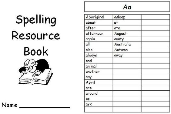 Junior word book wih alphabetical word lists and room for more to assist student writing and spelling.