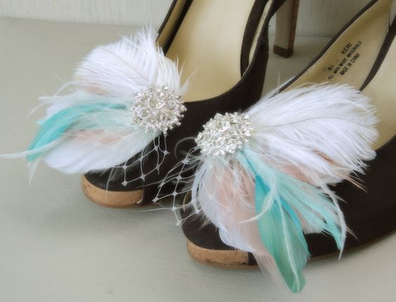Feather Shoe Clips Wedding Shoe Clips Bridal by TheFeatheredEdge, $42.00