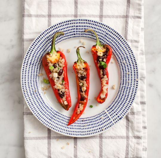 """quinoa stuffed peppers w/ chipotle cashew """"cream"""""""