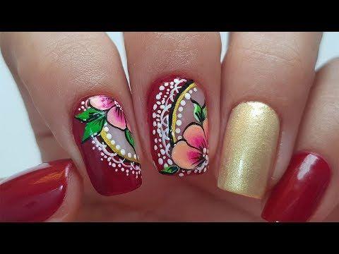 Flor En Pinceladas Funnailstatyz Youtube Uñas Con