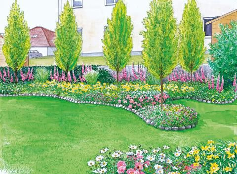 Stadtgarten im Innenhof Pflanzplan, Innenhof und Sitzplatz - garten gestalten vorher nachher