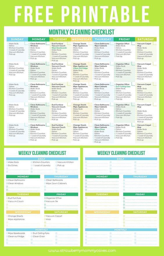 maintain a clean home printable cleaning schedule liste de contr le de nettoyage hebdomadaire. Black Bedroom Furniture Sets. Home Design Ideas