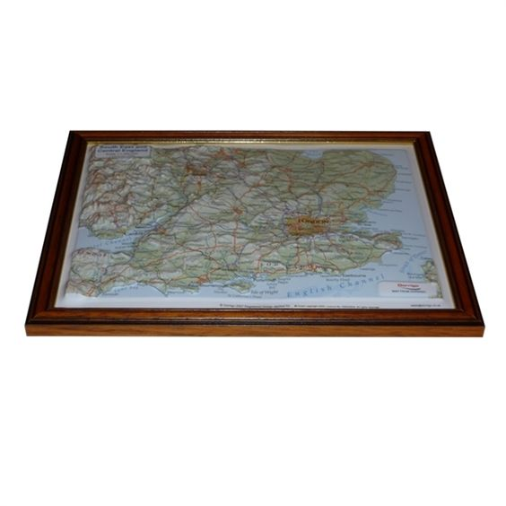 Framed South East and Central England Raised Relief Map