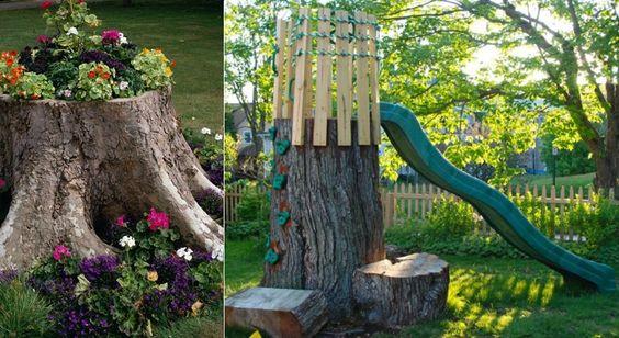 12 idées pour transformer une souche d'arbre sans la déterrer!