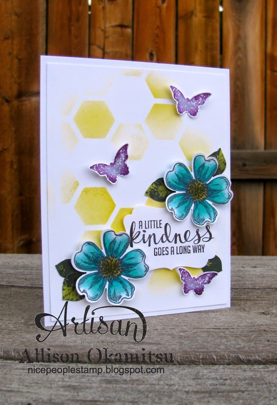 nice people STAMP!: Stampin' Up! Convention 2014 Display Board Project 2: Kinda Eclectic & Flower Shop + Blendabilities by Allison Okamitsu
