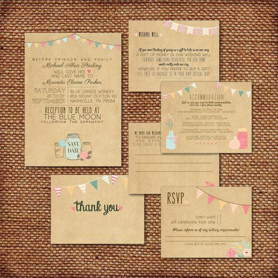 Wedding Invitation Suite Set Printed Custom DIY RUSTIC – Rustic Wedding Invitations Kraft Paper
