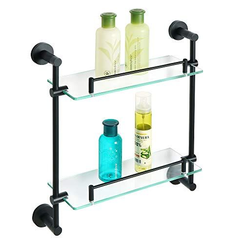Alise Bathroom Shelf Shower Caddy Double Layer Shower Glass Shelves Wall Mount Sus304 Stainless Steel Matte B Glass Shelves Glass Shower Tempered Glass Shelves