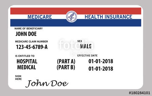 Medicare Health Insurance Card This Is A John Doe Mock Medicare
