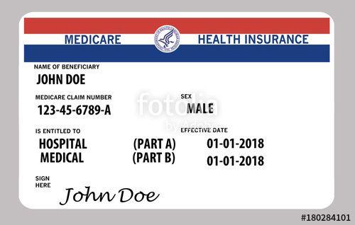 Medicare Health Insurance Card This Is A John Doe Mock Medicare