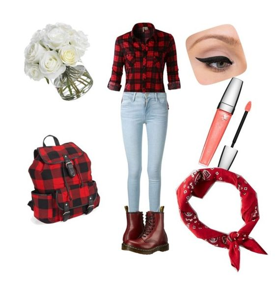 """""""Outfit"""" by meeliine ❤ liked on Polyvore featuring LE3NO, Frame Denim, Dr. Martens, Aéropostale, Lancôme, Diane James, LORAC and American Eagle Outfitters"""