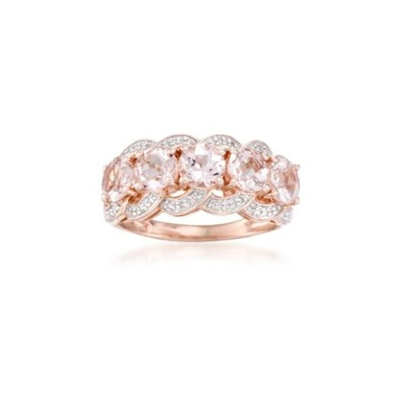 Ross-Simons 2.00ct t.w. Morganite, .10ct t.w. Diamond Ring Over... (17220 RSD) ❤ liked on Polyvore featuring jewelry, rings, diamond jewellery, ross simons jewelry, ross-simons, round ring and ross simons rings