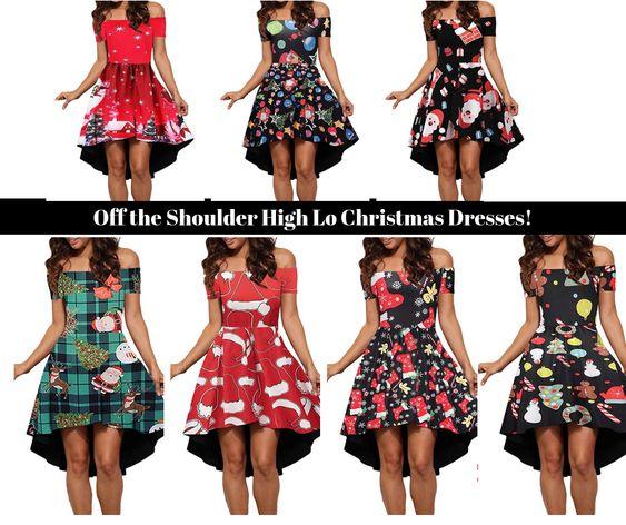 Off The Shoulder Christmas High Low Hem Dress for Women