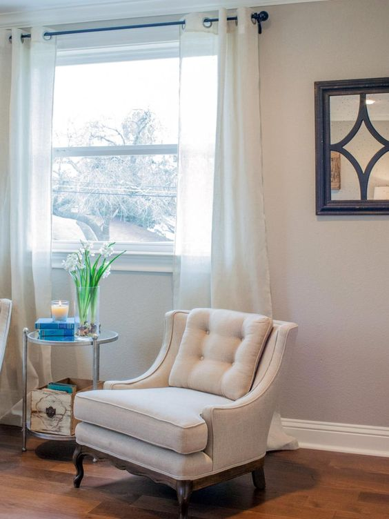 Reupholstered Chairs in Master Bedroom