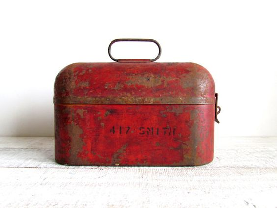 lunch box . vintage . industrial . rustic red tin Repinned by www.silver-and-grey.com