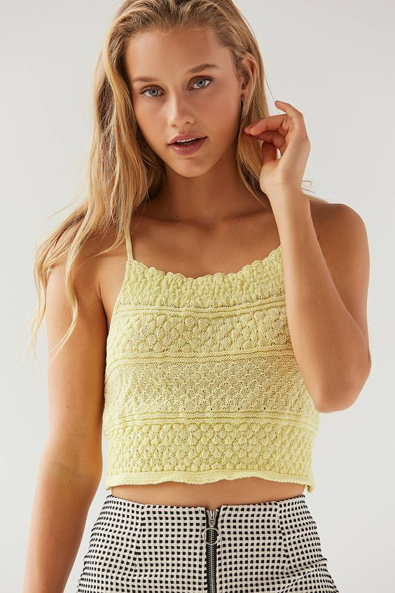 UO Camden Pointelle Sweater Cami | Urban Outfitters