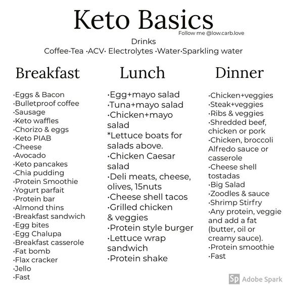 Basic Keto Food Ideas 👌 . Tag a friend that would find this post helpful 🥳 @thedonsc . What's your favorite meal/snack on keto😋? . This is for all my newbies that are just starting keto or if you're just trying to eat less carbs. These are some simple low carb meal/snack options 🙌 . The closer you stick to the basics, the better your results will be (less processed fooods and snacks)🙌 . When first starting keto, don't stress out about macros. Just focus on staying under 20 net carbs. Your c
