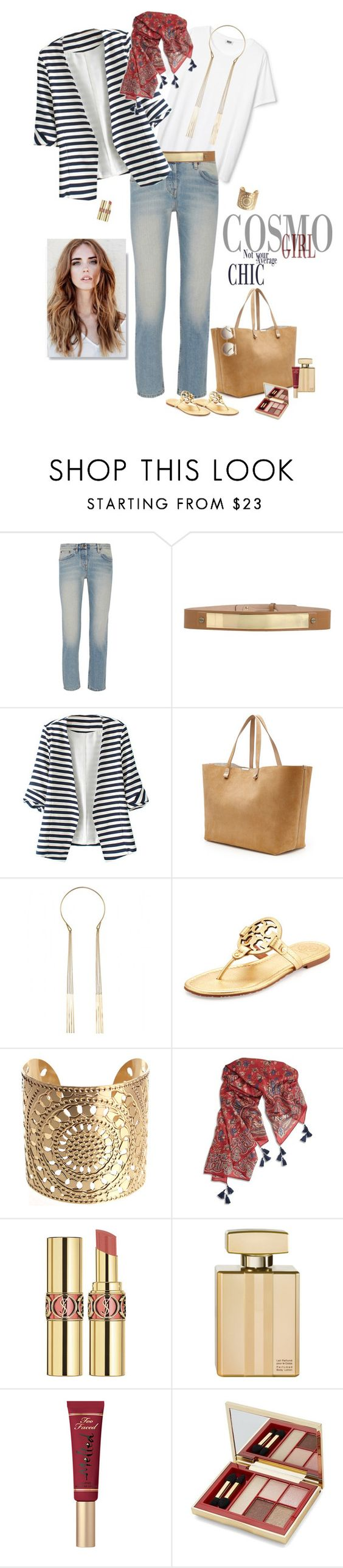 """""""1296"""" by m-lane ❤ liked on Polyvore featuring The Row, Jo No Fui, WithChic, Victoria Beckham, By Malene Birger, Tory Burch, Lucky Brand, Yves Saint Laurent, Gucci and Too Faced Cosmetics"""