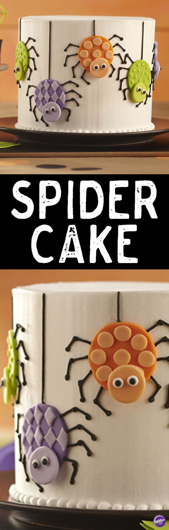 How to Make a Spider Cake - Easily make colorful fondant spiders using Wilton White Decorator Preferred Fondant and Round Double Cut-Outs Set. The creepy-crawlies decorate the side of a cake that's perfect to serve at a Halloween party.
