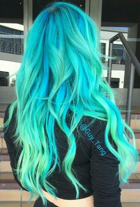 Hairstyles Dyed : Facial massage, Follow me and Bright blue hair on Pinterest