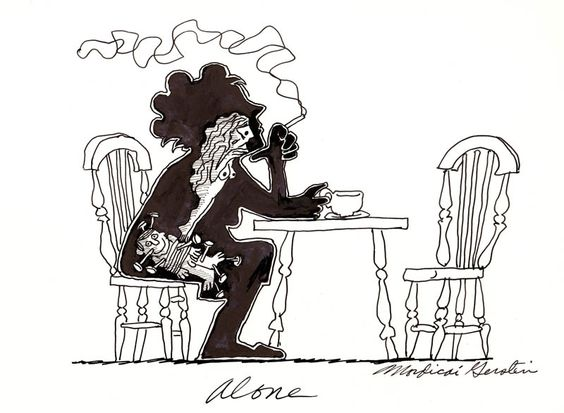 """""""Alone"""" original illustration for The Inner Man (a series of editorial cartoons done for various publications including the Village Voice and Oui Magazine in the 1970's.)   R. Michelson Galleries"""