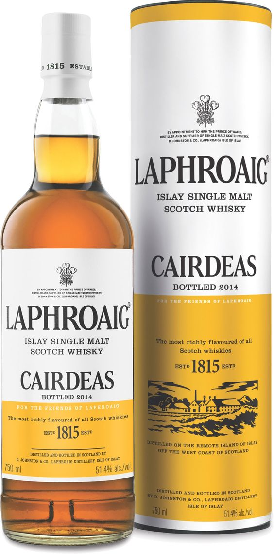 Laphroaig Cairdeas 2014 Edition Islay Single Malt #Scotch Whisky.  Initially matured in ex-bourbon cases, this #whisky is finished in Amontillado hogsheads for one year. | @Caskers