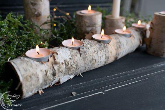 We are inspired by nature in our home decor. We created beautiful and simple birch candle holders from old birch logs. Learn how to make them!