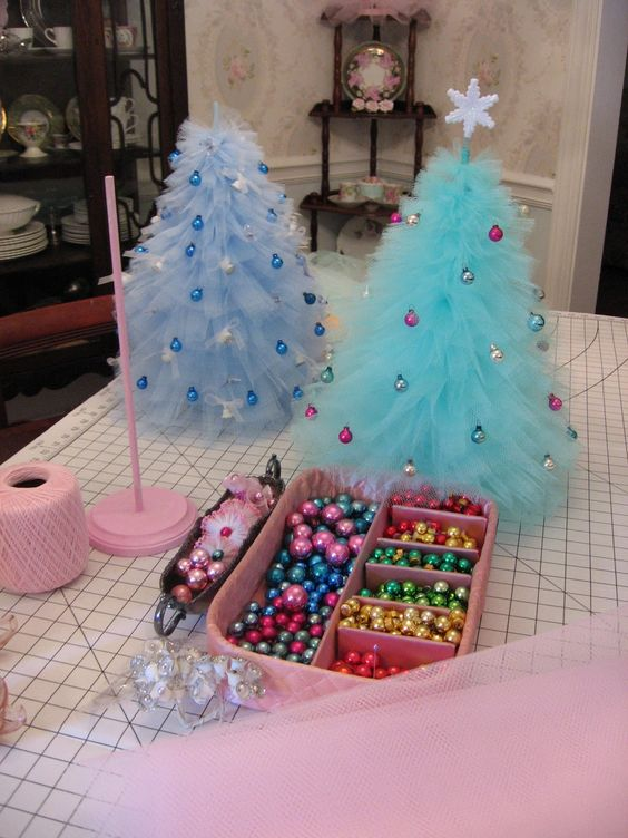 Pretty tulle Christmas trees - just the right size for a nightstand, centerpiece, or table.