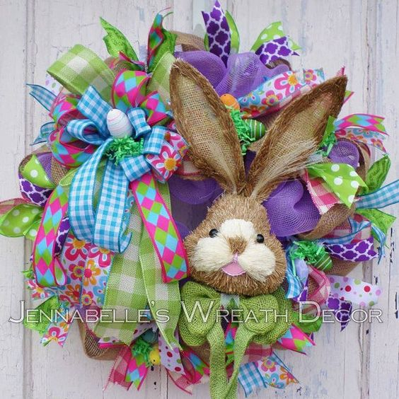 Easter Wreath Burlap Wreath Deco Mesh Bunny Rabbit by JennaBelles