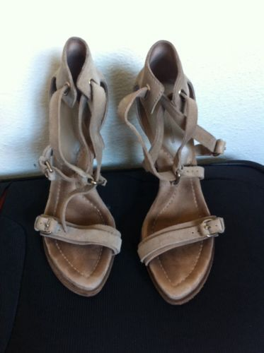 Alexander wang Beige Suede Leather Strap Heeled Sandals Sz38/AU Sz8