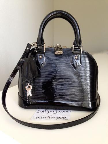 171a1a5b92f Louis Vuitton Epi Electric Alma BB Noir Black Handbag Shoulder Crossbody    Lollipuff