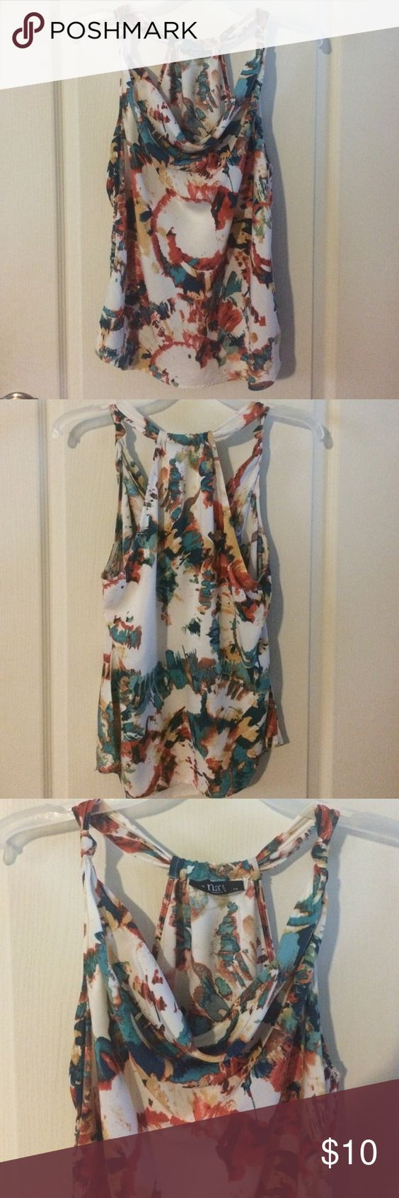 a.n.a. Dress/casual top (only) gently used a.n.a. Petite Dress/casual top shades of cream, teal, orange, browns. (PANTS SOLD SEPARATELY) a.n.a Tops Blouses
