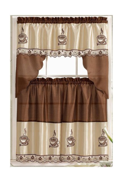 Buy Coffee Barista Complete Embroidered Kitchen Curtain Tier Swag Set At Walmart Com Coffee Decor Kitchen Coffee Theme Kitchen Kitchen Themes