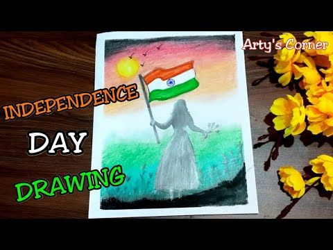 Independence Day Drawing How To Draw Girl Holding Flag School Competition Idea By Arty S Corner Youtube Independence Day Drawing Flag Drawing Girl Drawing