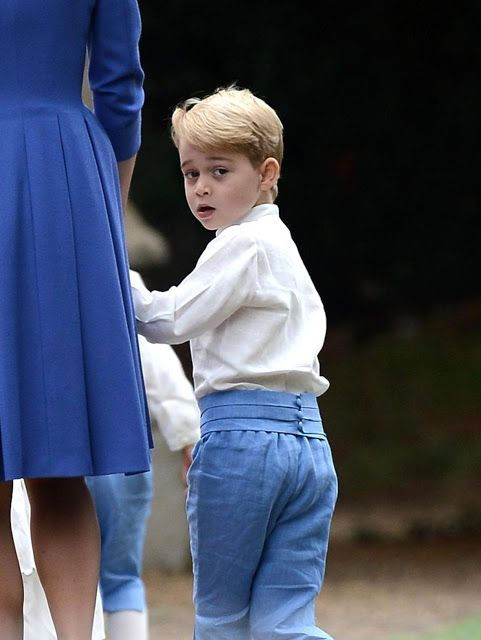 Prince George of Cambridge looked adorable in his pageboy outfit as he clutched onto his mother's hand during the wedding of his mother closed friend Sophie Carter.