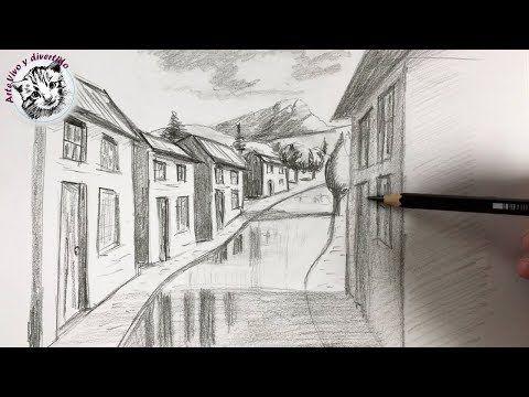 Como Dibujar Pueblo Con Cuestas Y Curvas En Perspectiva De Un Punto Paso A Paso Youtube Perspectiva De Un Punto Dibujo Perspectiva Como Dibujar