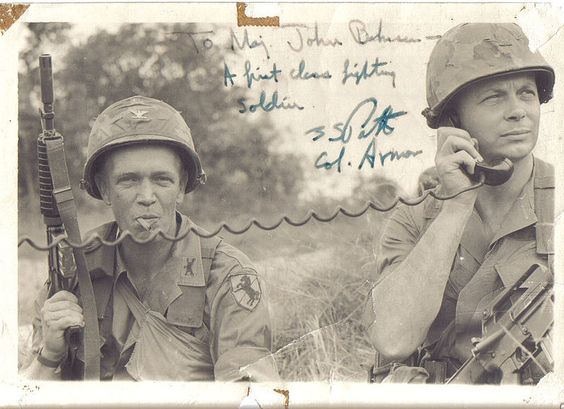 """Col. George S Patton (L), MAJ John C. """"Doc"""" Bahnsen (R) during their time together in the 11th Armored Cavalry Regiment"""