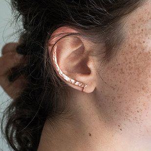 These bronze hammered ear climber. | 16 Fake Body Piercings Your Parents Won't Even Mind