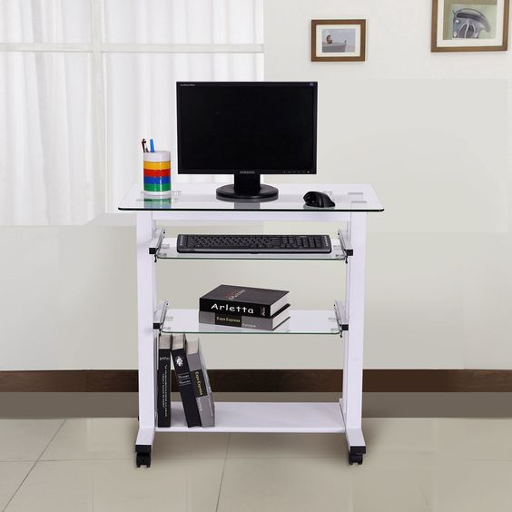 Mesa de Ordenador PC Oficina Despacho Escritorio Estante 80x51x83cm Vidrio…