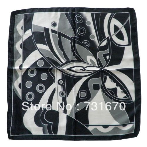 2015 mature black complicated flower pattern Imitated Silk print lady's Scarves 60*60cm SJA6013-2
